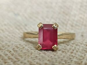Vtg 3ct Natural red Ruby engagement ring solid 9ct gold emerald octagon cut