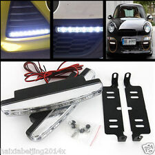 2x LED Euro 12V White Euro Driving Fog Lamp DRL Daytime Running Lights Daylight