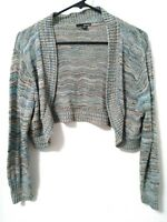 Women's Size Large a.n.a Blue Multi-Color Crop Thin Cardigan Sweater