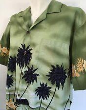 KY Hawaii XL Green Palm Trees Aloha Hawaiian Shirt Orange Hibiscus Moon