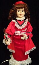 """Telco Motion-ette 23"""" Animated Victorian Lady Doll with Candle Red Dress - Works"""
