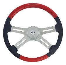 "4 Spoke 18"" Viper Red Combo Classic Steering Wheel 3-Hole for FL, PB, KW+++"