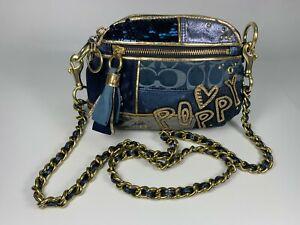 Coach Rare Poppy Denim Sequin Blue Velvet Leather Gold Chain Crossbody 15423