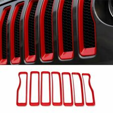 Fit For Jeep 2018 2019 New Wrangler Front Grill Grille Cover Trim Red Color-7PCS