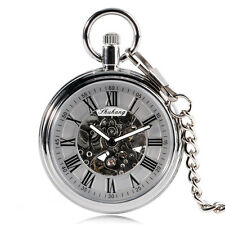 Silver Retro Open Face Skeleton Mens Mechanical Self Wind Pocket Watch Automatic