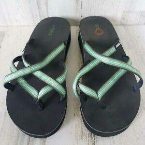 Teva 4242 Women's Sandal Strappy Platform Chunky Wedge Flip Flop Thong Size 10