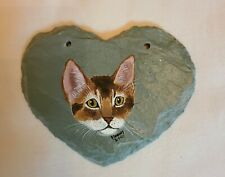 Abyssinian Cat Hand Painted Slate 3 inches by 4 inches