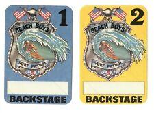 "Lot of 2 Beach Boys ""Surf Patrol"" peel-back Fasson Backstage Cloth Passes"