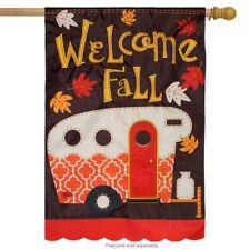 "Fall Camper Applique House Flag Autumn Camping Rv 28"" x 40"" Briarwood Lane"