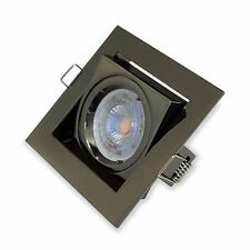 NEW Black Chrome Spotlight fitting Ceiling Recessed Square GU10 Tilted
