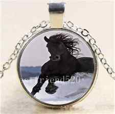 Black Horse Free Running Cabochon Glass Tibet Silver Chain Pendant Necklace