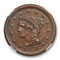 1851 1c Braided Hair Large Cent NGC AU 55 About Uncirculated Attractive / Ori...