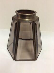 1 Amber Brass Beveled Glass Lamp Shade /Globe Light Vanity Ceiling Fan 6-Sided
