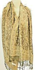 Pashmiina  Silk Scarf Wrap Shawl gold tan taupe Paisley Fringe  0206