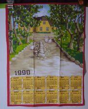 ANCIEN TORCHON CALENDRIER ANNÉE 1990 OIE FERME ANIMAL PTT LA POSTE TAPISSERI