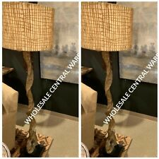 "PAIR COASTAL 70"" WEATHERED DRIFTWOOD LOOK FLOOR LAMP NATURAL TWINE SHADE"