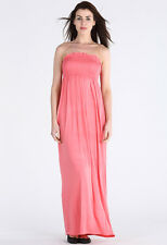Womens Casual Plus Size Sheering Beach Long Bandeau Shirred Summer Maxi Dress