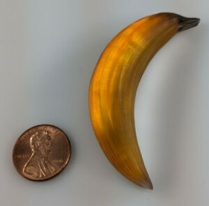 """Small Alexis Bittar Carved Fruit Yellow Orange Banana Pin Brooch 2.5"""" Hard2Find!"""