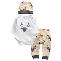 #QZO Kids Baby Girl Boy Clothes Deer Tops T-shirt+Pants Leggings 3pcs Outfits