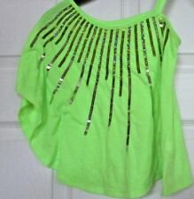 Girls justice sparkly batwing one shoulder lime green top blouse 6/7