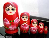 Lovely Hand Painted 5Pc Matryoshka Babushka Russian Wooden Nesting Doll Gift/Red
