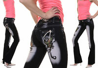 WOMEN'S JEANS TOP CLUBBING LADIES  EMBROIDERED TROUSER BLUE PANT SIZE 6 8 10 12