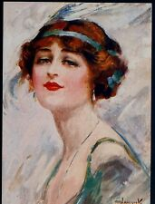 "HAMMICK...REDHEAD GLAMOUR LADY,""THE SOCIETY GIRL"" FLAPPER FASHION,OLD POSTCARD"