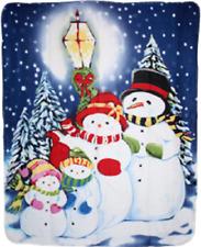 Merry Christmas Snowmen Swowman Caroling 50x60 Plush Polar Fleece Blanket Throw