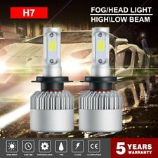 Pair H7 COB LED Headlight Bulb Conversion Kit High Low Beam Fog Lamp 6500K White