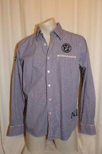 NZA Modern Casual Shirt 100% Cotton Blue Striped L
