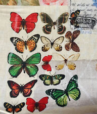 Vintage Butterfly Music Note Fabric Cotton Material Curtain Upholstery 55'' wide