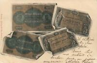 1901 VINTAGE SWITZERLAND FRANKEN BANKNOTE POSTCARD - USED Geneva to Plainpalais