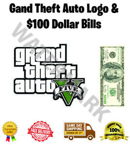 GTA Grand Theft Auto Dollars Edible Wafer Icing Cake Topper