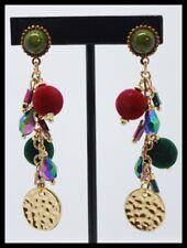 Boucles d oreilles BIJOUX LOL pompon pendante rouge vert or glamour LOLILOTA