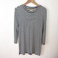 Old Navy Tunic T Shirt Black White Stripe Slits 3/4 Sleeves Sz M Medium T23