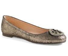 Tory Burch Women's Reva Metallic Cheetah Print Ballet Flats Anthracite