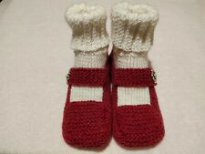 Women's Knitted Red White Cozy Bootie Slippers Handmade Shoes