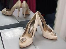 UK 3.5 Stunning Cream Gold Satin High Heels Stiletto Eve Diamante Bow Shoes EU36