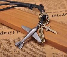 N214 Black COOL Biker Plane Pendant Leather Cord Long Necklace Men's NEW