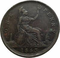 1863 UK Great Britain United Kingdom QUEEN VICTORIA Genuine Penny Coin i76766