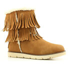 Women's Fringe Ankle High Comfort Flat Mid Calf Eskimo Fur Winter Warm Snow Boot