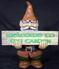 """Ceramic Bisque """"Welcome to my Garden"""" Gnome 19"""" Tall"""
