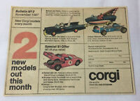 1967 Corgi Bulletin #2 newsprint ad~ BATMAN BATMOBILE AND BATBOAT,Ferrari 250 LM