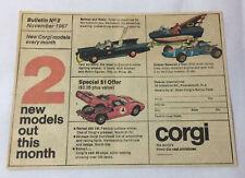 1967 Corgi Bulletin #2 newsprint ad~ BATMAN BATMOBILE AND BATBOAT,Ferrari 250 LM
