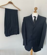 """DANIEL HECHTER Blue Wool Pink Striped Suit Single Breasted 38"""" R Slim Fit"""