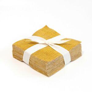 """120 Crosshatch Antique Gold pre cut charm pack 5"""" squares 100% cotton fabric qui"""