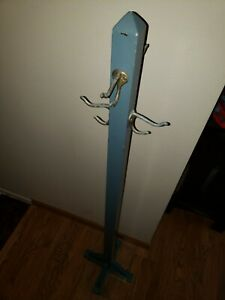 Vintage WOOD COAT RACK Handmade Folk Art country hanger hat stand hall tree cats
