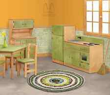 3 PIECE KITCHEN PLAY SET - NATURAL GREEN Amish Handmade Toy Furniture USA MADE