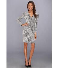 Donna Morgan Women's V-Neck Wrap Dress Black White Long Sleeves  Size 14
