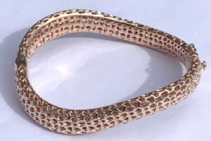 """925 Sterling Silver Woman's Rose Gold Coloured Wavy Opening Bangle 30g 8"""" Wide"""